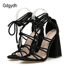 Gdgydh Lace Up Chunky Heel Sandals  Women Gladiator Rome Dress Shoes High Heels Nightclub Female Footwear Black Ankle Strap цены онлайн