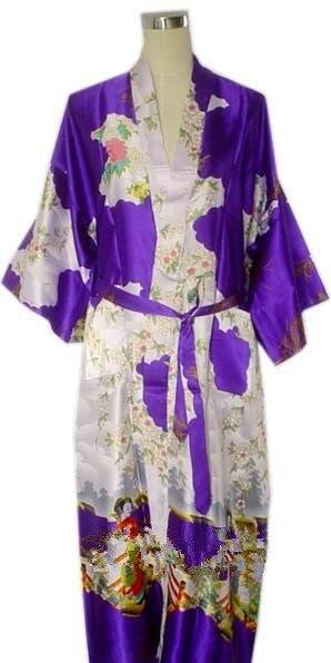 Hot Sale Purple Mujer Pijama Chinese Women's Robe Kimono Bath Gown Silk Rayon Sleepwear Nightgown Size S M L XL XXL XXXL Zhs02K