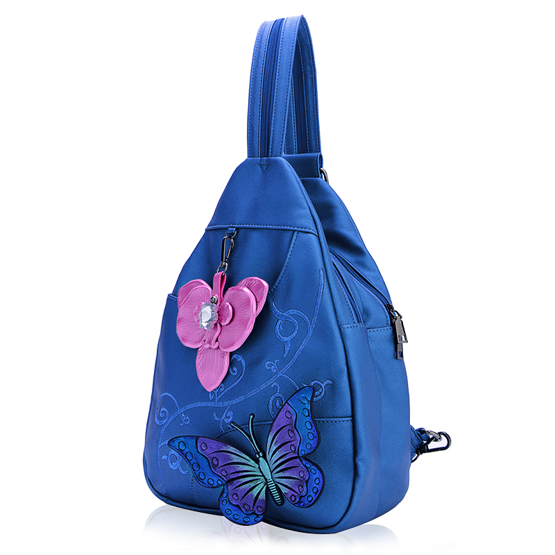 Backpack women's backpack 2018 new college wind soft leather embroidery butterfly wild anti-theft lady chest bag travel backpack butterfly patches faux leather backpack
