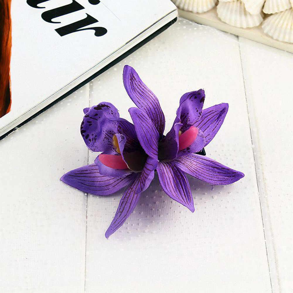 1 шт. заколка для волос Горячая распродажа Бабочка Орхидея ткань Богемия желтый синий женский модный головной убор пляжные цветы красивые заколки для волос