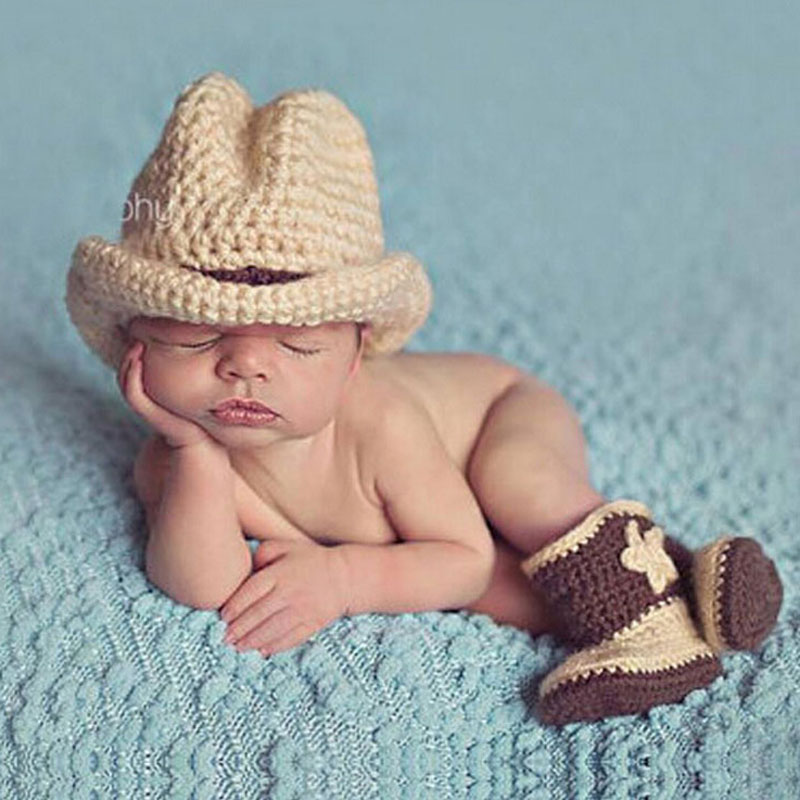 Handmade knit baby cowboy hat and boots set newborn boy photography props crochet baby cap with booties shoe 1set h224 in hats caps from mother kids on
