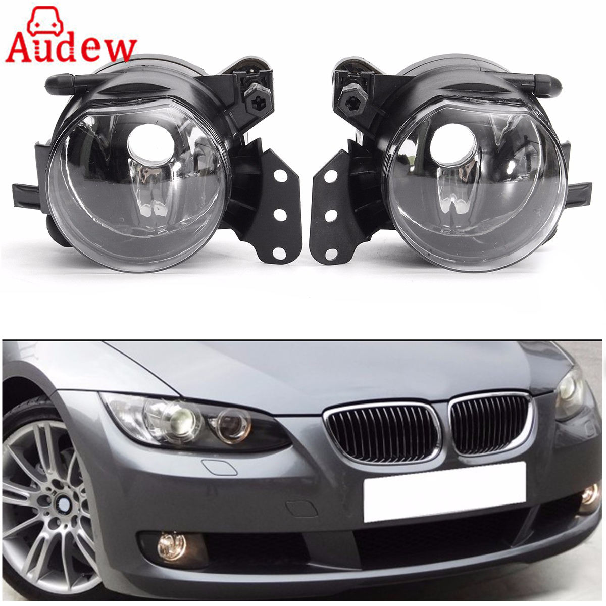 1Pair Fog Light Assembly Car Front Fog Lights Lamps Housing Lens Clear No Bulbs For BMW E60 E90 E63 E46 323i 325i 525i