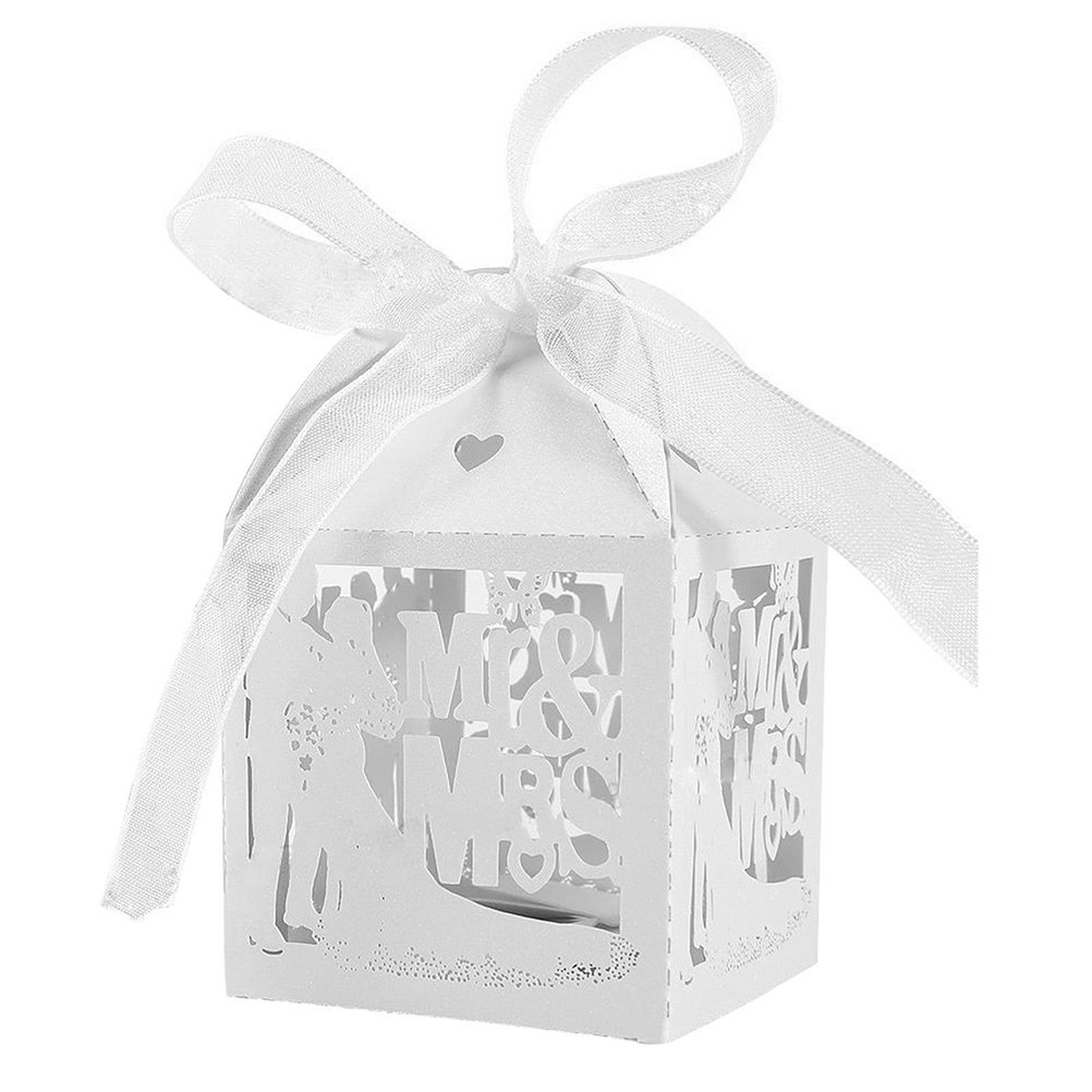 10PCS White Candy Paper Party Box Mr&Mrs Married Wedding Favor Box ...