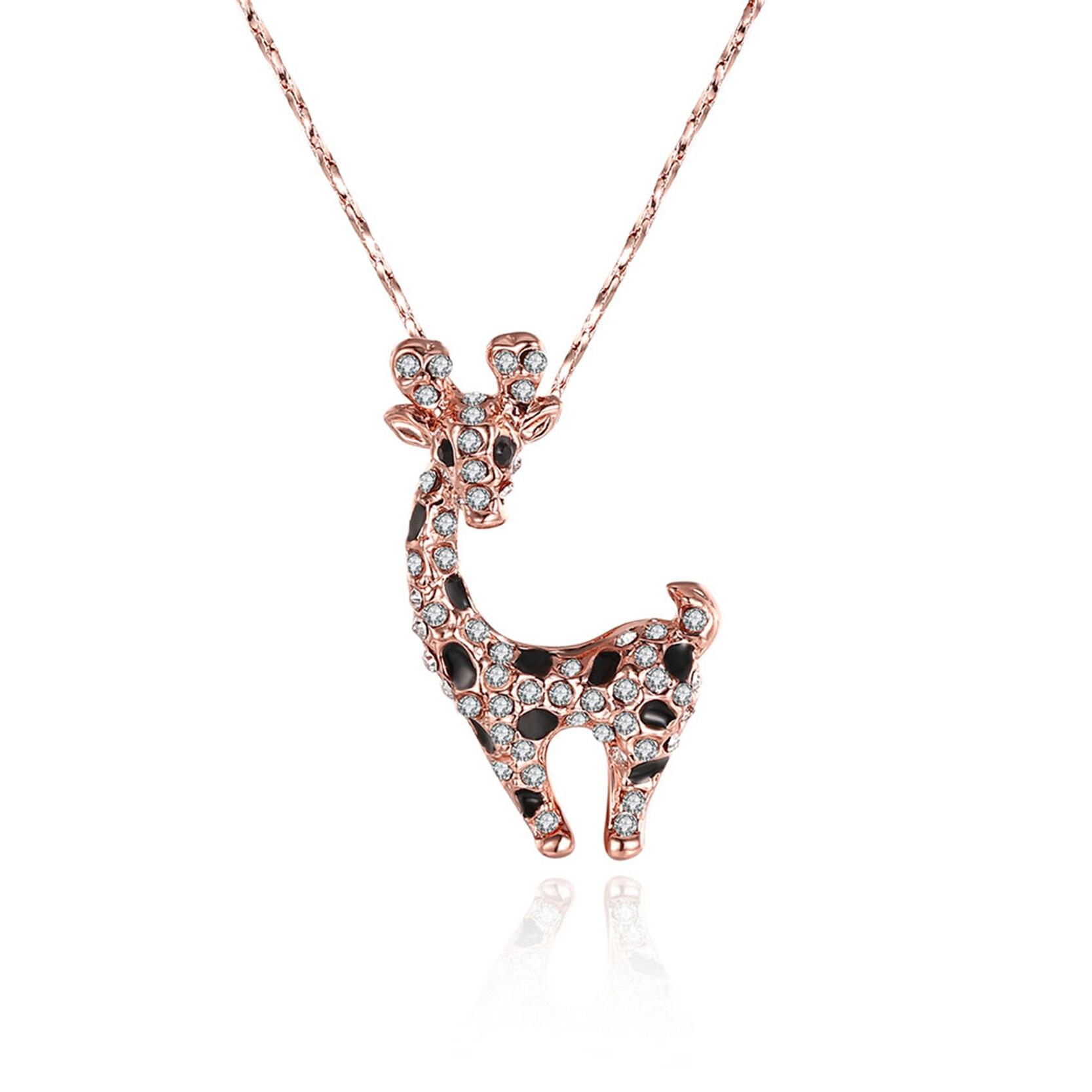 DROLE Crystal Rose Gold Color Cute Giraffe Pendant Choker ...