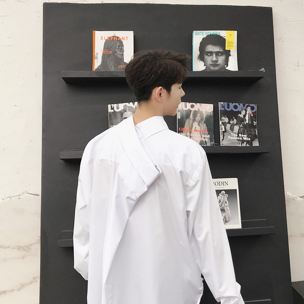Male Black White Dress Shirts Men Japan Harajuku Style Fashion