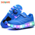 New Children Shoes Glowing Sneakers LED Light Roller Skates Shoes Double Wheels Flashing Shoes for Kids Girls Boys Size 27-43