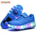 Novas Crianças Sapatos Tênis Brilhantes LEVOU Luz Sapatos Duplo Rodas Patins Piscando Sapatos para Crianças Meninas Meninos Tamanho 27-43