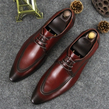 Mens Dress Shoe Spring New Hot Wine Red Black Formal Business Shoes Flat heel Real leather