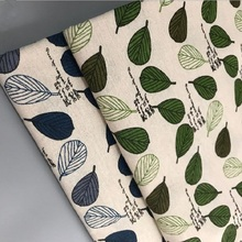 Printed Linen Cotton Fabric Abrasion-Resistant Leaf Quilting Material Manual Sewing Home Textile Cloth