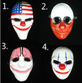 HOT Halloween Scary Clown Payday 2 Mask Cosplay Masquerade Prop Carnival Mask Joker Dallas Wolf Hoxton Chains Movie Props Mask