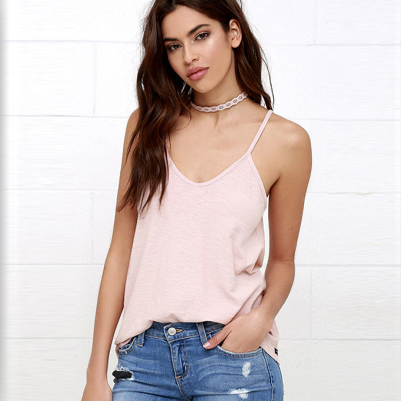 2016 Summer Women Tank Plus Size V-Neck Solid Sexy Backless Camisole Cotton Tank Top Women Hot Europe Fashion Women Tank S20823