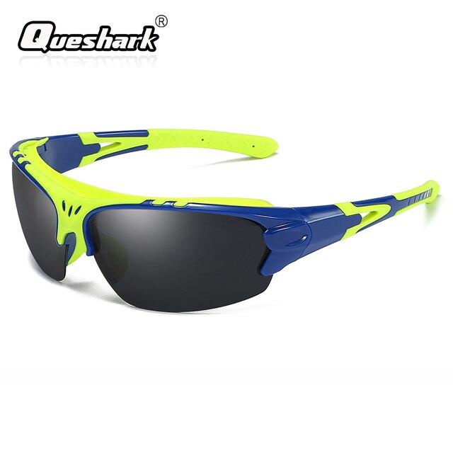8a21589b63 Queshark Men Polarized Cycling Sunglasses TR90 Frame Camping Hiking Goggles UV400  Fishing Glasses MTB Bike Eyewear