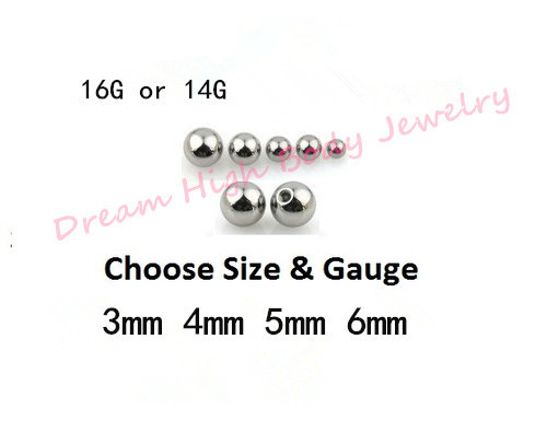 Piercing Replacment Ball Diameter Surgical Steel Threaded Micro Ball 14G 16G circular barbell labret stud Tongue Bar Navel Ring