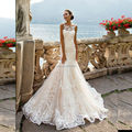 Vestidos de Novia Sexy Ver Através Voltar Lace Mermaid Vestido de Noiva 2017 Romantic Robe de mariage Custom Made vestido de Noiva