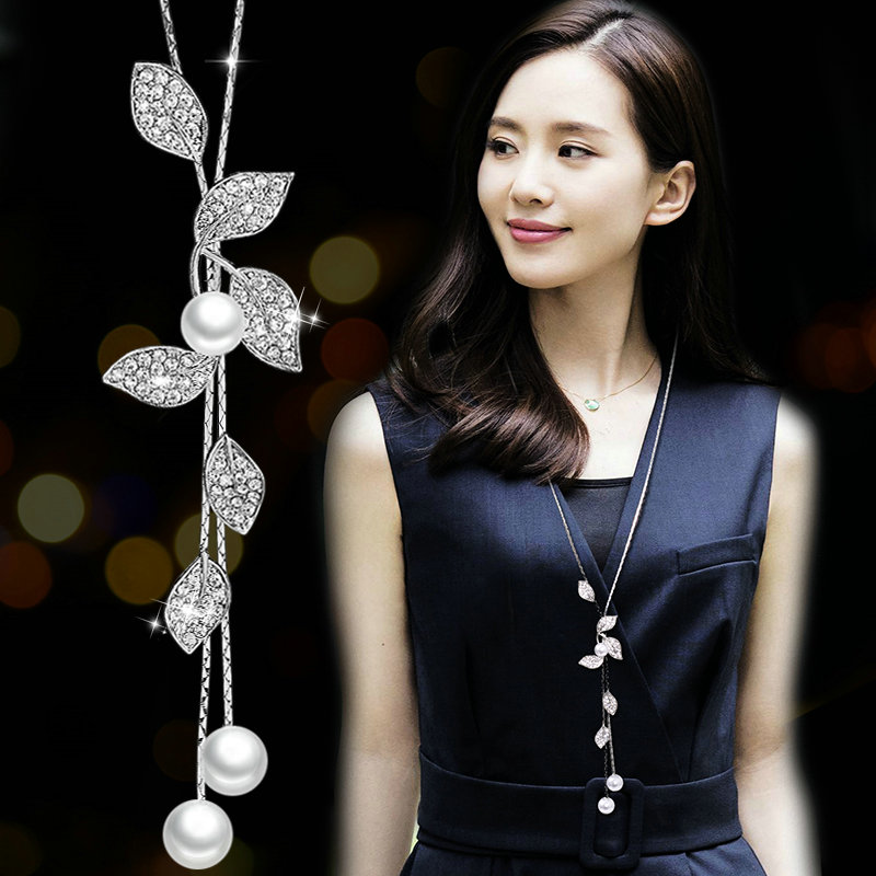 Autumn Winter Crystal Pearl Leaves Long Sweater Chain Flower Tassel Pendant Necklace Geometric Jewelry Women Clothes Accessories