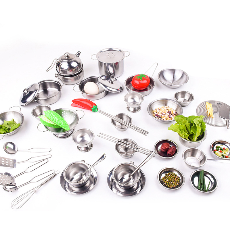 Silver Stainless Steel Kid Play House Kitchen Toys Cookware Utensils PotsSilver Stainless Steel Kid Play House Kitchen Toys Cookware Utensils Pots