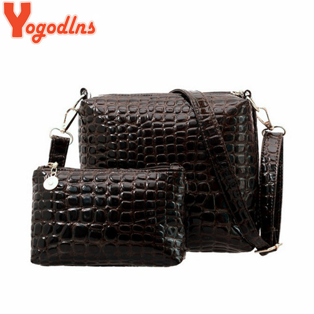 Yogodlns 2PCS Bag Women Messenger Shoulder Bag Crocodile PU Leather Casual  Crossbody Quilted Bags Set Clutch 09b8eea1b7