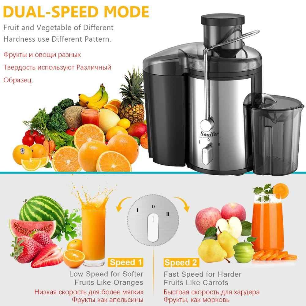 220 V aço Inoxidável Juicers 2 Velocidade elétrico Extrator De Suco De Fruta Máquina de Beber Para Casa Sonifer