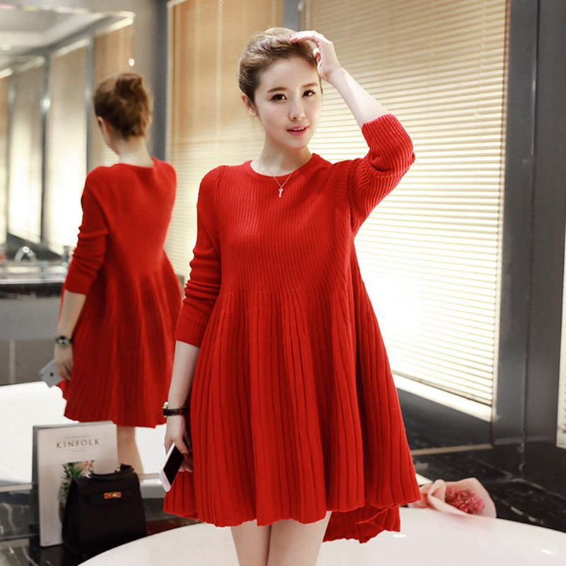 be26b0ec2 Maternity Clothes Autumn Winter Solid Color Length Sleeve Pleated Knitting Dress  Clothes for Pregnant Women Pregnancy Dresses