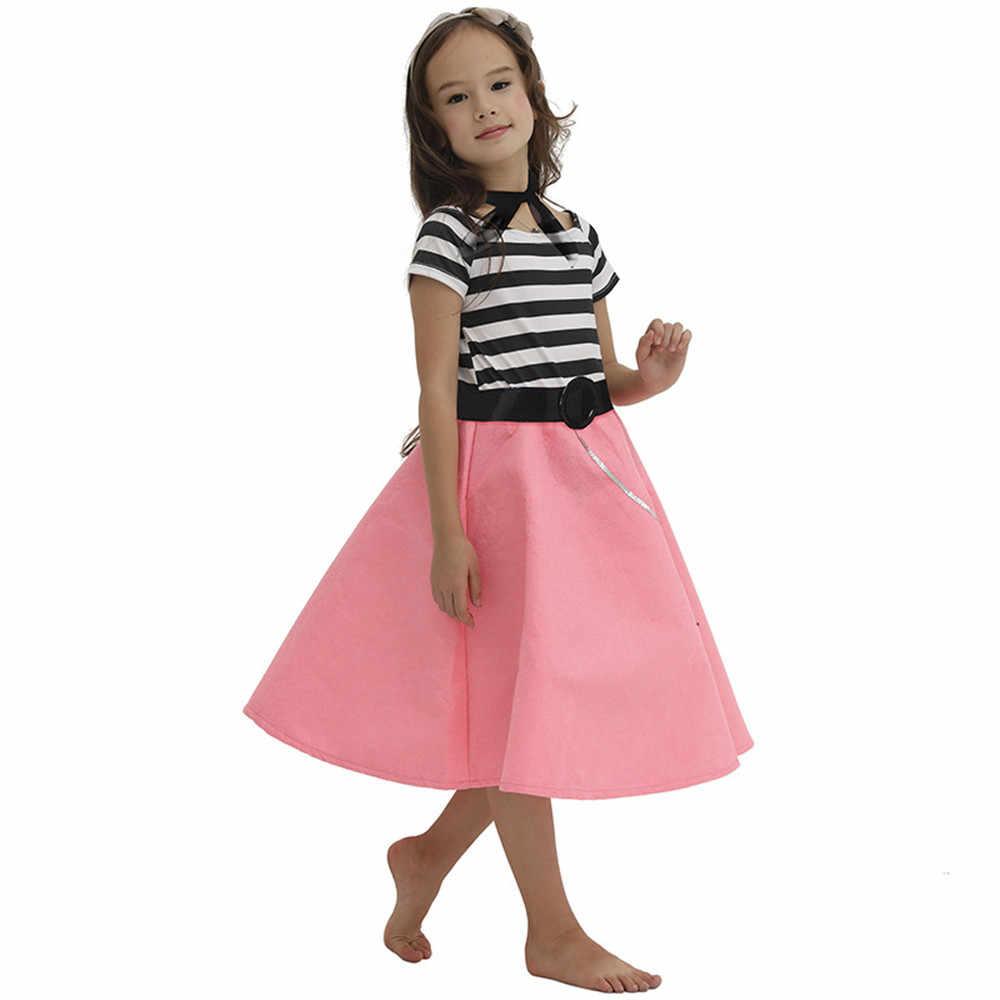 c09c15b754819 ... 50s Pink Girls Poodle Skirt Dress Kneed Length Grease 1950s Vintage Dress  Halloween Costumes for Kids ...