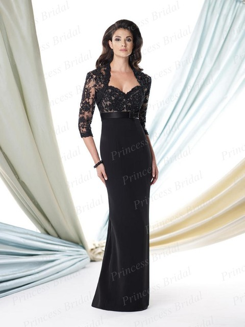 c7dcb81d961 Free Shipping Women Mermaid Sweetheart Black Top Lace Mother Of The Bride  Dresses 2014 Floor Length