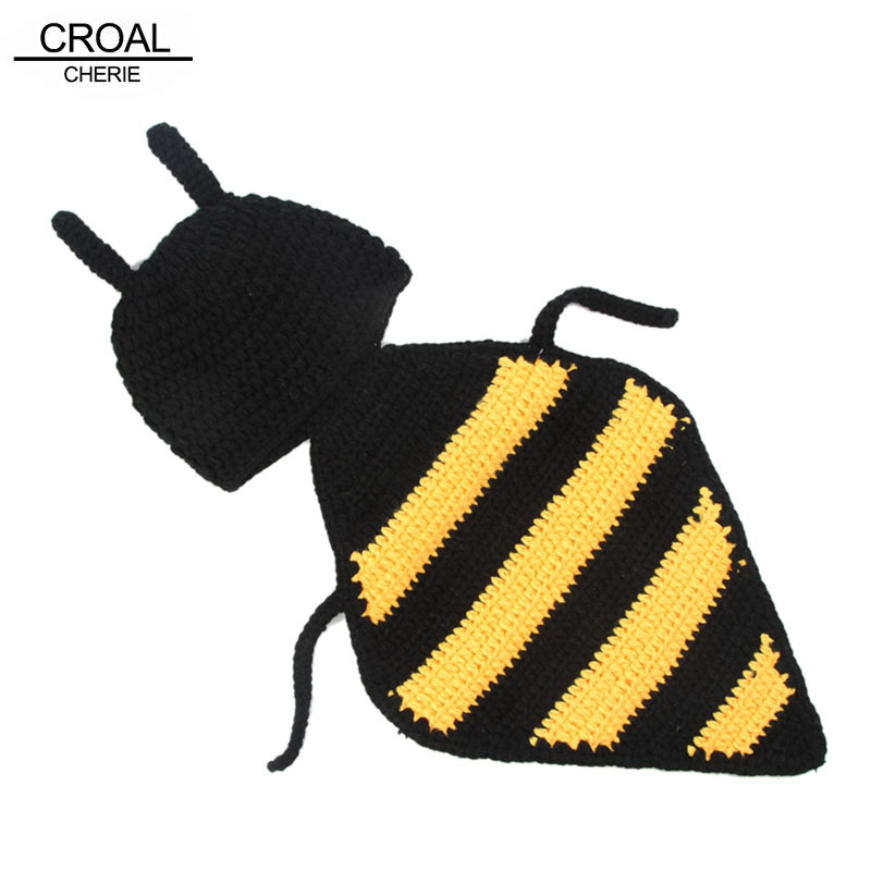 Cute Bee Baby Photography Props Accessories Handmade Baby Winter Beanie Bone Hat Infant Costumes Suit Blanket Knitted Outfits