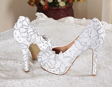2016 Handmade White Flower High Heel Shoes Wedding Bridal Shoes Match Wedding Dress Shoes for Anniversary Party