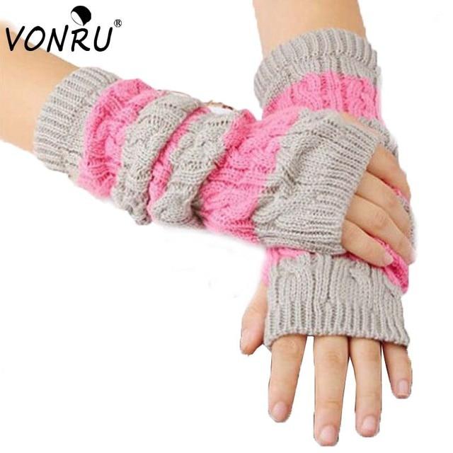 Moda mujer invierno guantes largo Punto de ganchillo mano brazo ...