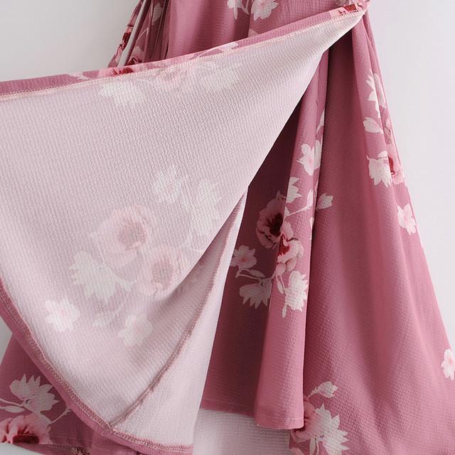 Sleeveless Slim Waist Lace Up Ruffle Print Summer Dress