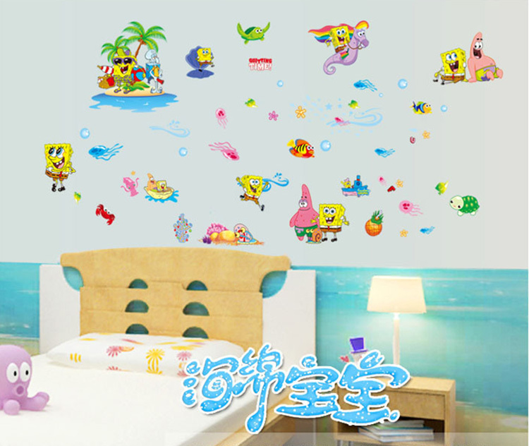 New Spongebob Squarepants Cartoon Wall Stickers Animals For Kids - Spongebob wall decals