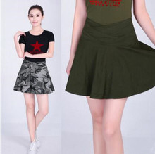 0694bc3ef 2017 Women Summer Camouflage Skirt 100% Cotton Casual Pleated Mini Skirt  with Pocket Plus Size