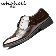 WHOHOLL Men Formal Shoes Pointed Toe Patent Leather Oxford For Dress Business uniform Wedding