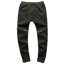 Men slim fashion cotton zipper new design long pants men joggers pants slim casual black autumn motorcycle bikers trousers