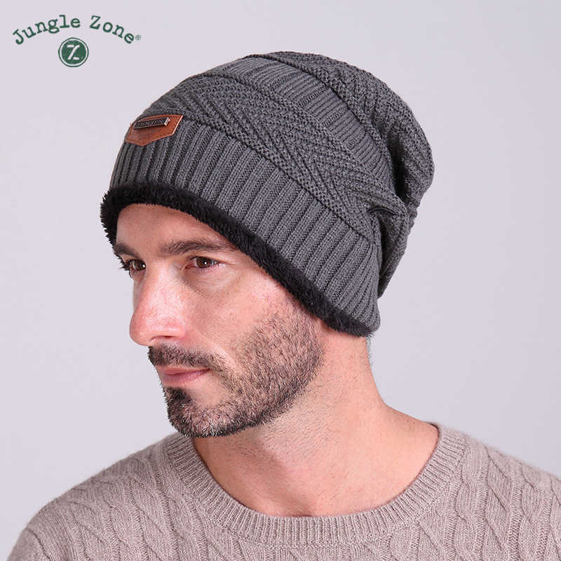 c3d5edabc JUNGLE ZONE Winter new labeling knit cap plus velvet cap winter outdoor  hooded cap ski warm hat free shipping