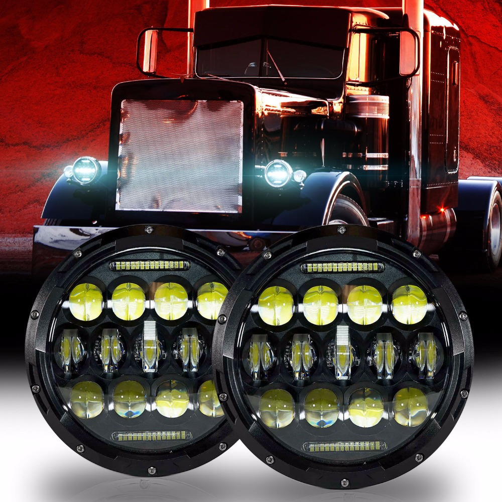 For 05 Freightliner Century 95 Peterbilt 379 EXHD 359 Old Style Round Guide 7 Inch 75W Headlight (2 pcs)