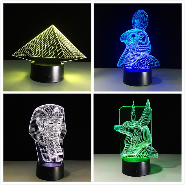 Ancient Egypt Anubis 3D Lamp LED Night Light Illusion 7 Colors Changed Xmas  Toy Gift USB Light Friends Gift Home Decor Drop Ship
