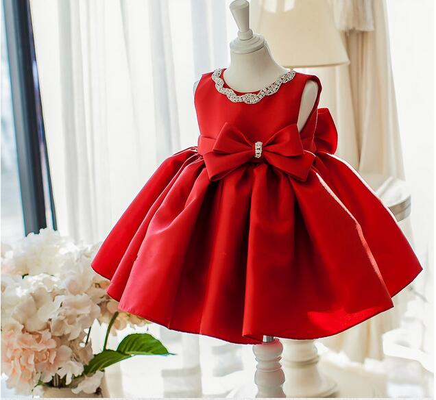 Elegant Girl Dress 2017 Fashion Red Satin Sequin Bow Sleeveless Party Tulle Flower Princess Wedding Dresses Birthday Ball Gown cute red and black princess dress sequin toddler summer dresses ruffles with bow baby girl sleeveless 1st birthday dress