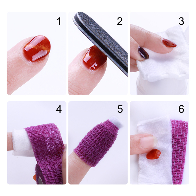 1 Roll Nail Remove Bandage Adhesive Nail Roll Tape for Nail Art Gel Polish Remover Random Colors Skin Care Protect Nail Art Tool