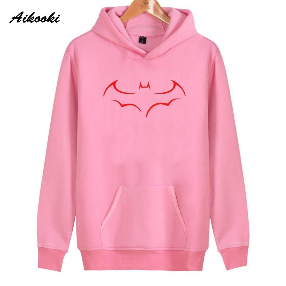 2018 Aikooki Batman Hoodies Women/Men Casual Cotton Pink Harajuku Batman Womens Hoodies and Sweatshirt Warm Clothes