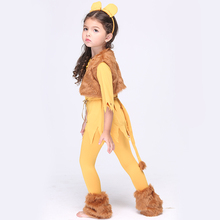 NEW Direct Selling Girls Deluxe Cowardly Lion Wizard Of OZ Cosplay Fancy Dress Child Animal Theme Carnival Party Costume EK015