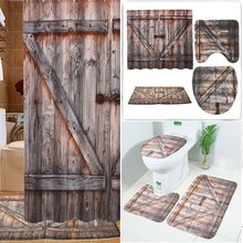 Creative Shower Curtains Old Wooden Barn Door Waterproof Floor Mat Toilet Set 3D Digital Printing