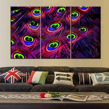 цена 3 Piece Colorful Feathers Painting Wall Art For Modern Living Room Decorative Unique Gift Modular Style Canvas Poster Print Type