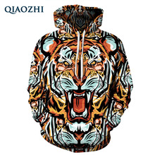 QIAOZHI Men Women Fashion Clothing Hooded Hoodies Pop Art Print Tiger 3d Sweatshirt Plus Size XXXL Tracksuits Pullover