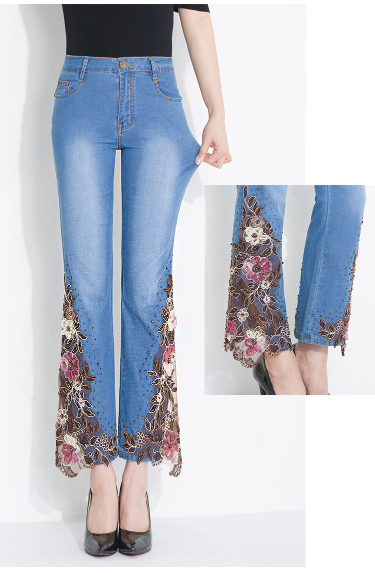 KSTUN FERZIGE Women's Jeans summer thin stretch skinny light blue embroidered beaded sexy ladies denim pants push up boot cut mujer 36 15