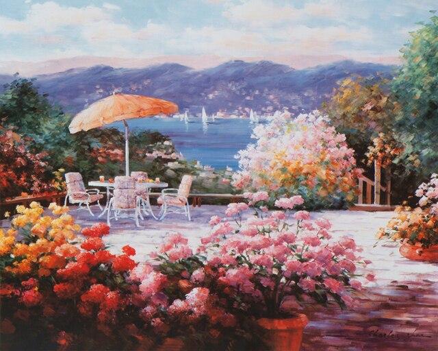 Free shipping mediterranean sea pink flower garden chair seascape free shipping mediterranean sea pink flower garden chair seascape oil painting canvas printings on canvas decoration mightylinksfo
