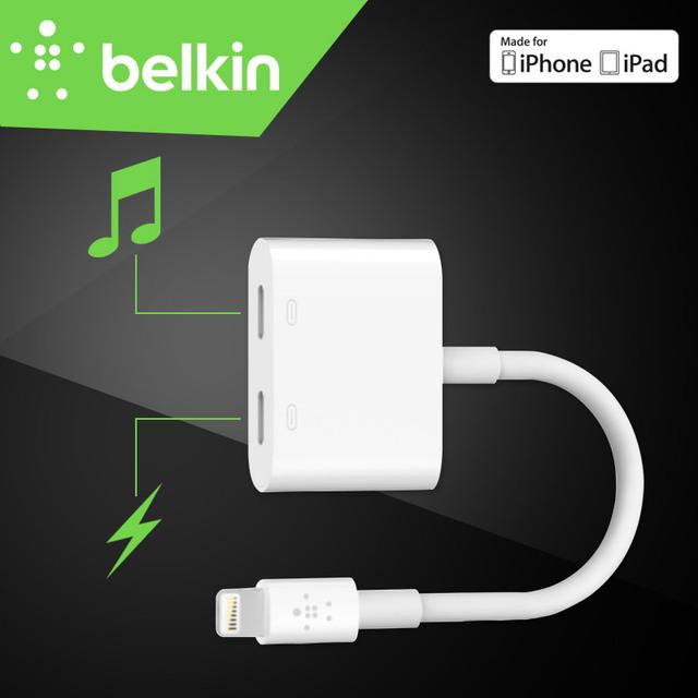 Chegada nova belkin rockstar certificado mfi 8 pinos do adaptador de áudio + carga relâmpago cabo para iphone 7 plus 6 s para earpods fone de ouvido