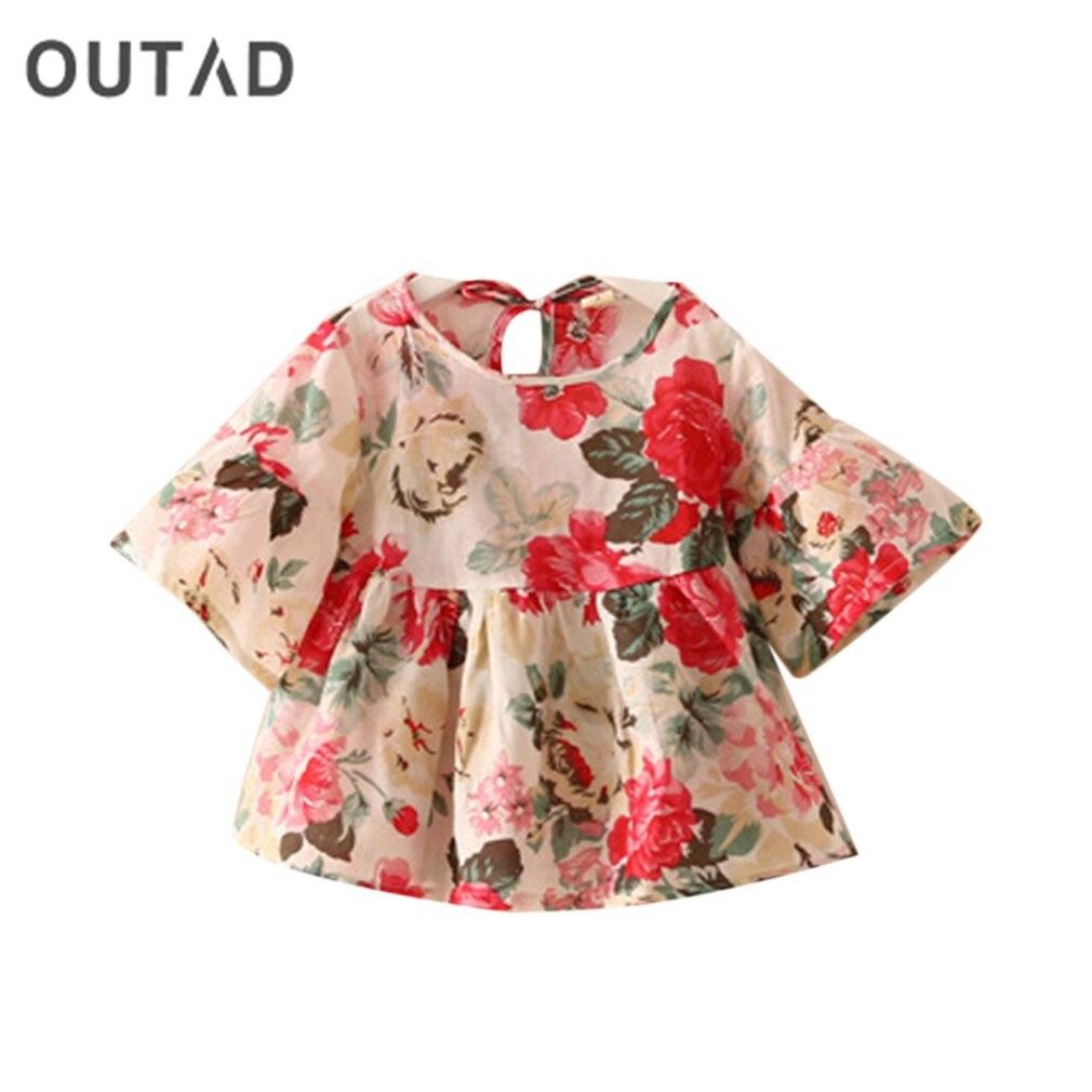2018 Sommer Baby Kinder Mädchen Hirt Kurzarm Trompete Hülse T-shirt Floral Druck Mode Vintage Top Hemd Kinder Kleidung Der Preis Bleibt Stabil