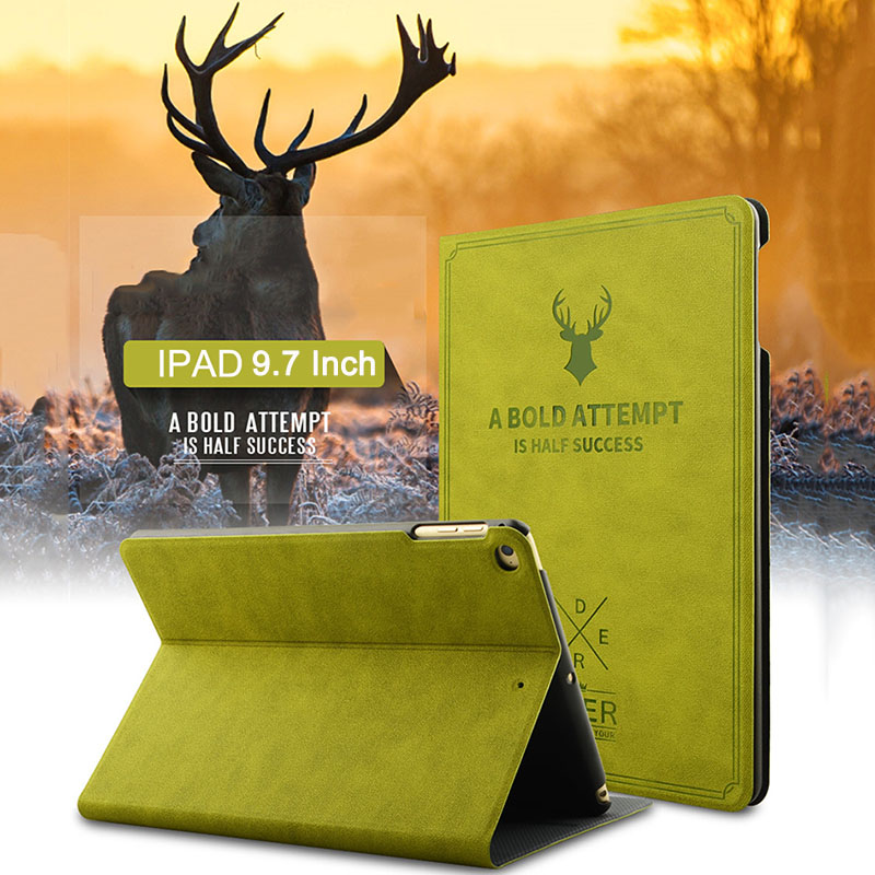 Smart Wake Leather Case For iPad 2 3 4 for iPad Air 1 2 Retro Cover Deer Style Flip Stand Protective Case For iPad 9.7 Inch Case case for ipad air 2 ipad 6 retro deer