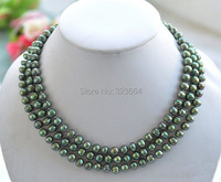 50 8mm GREEN ROUND Freshwater Pearl Necklace