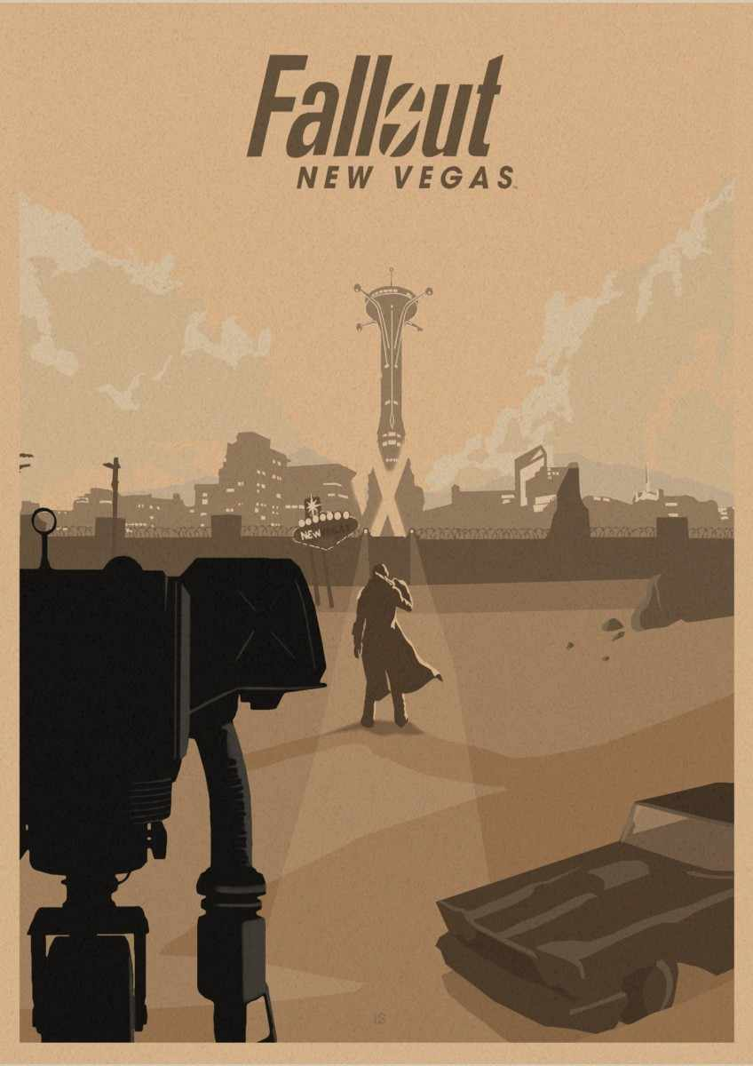 Fallout 3 4 เกมโปสเตอร์ Fallout เกมย้อนยุคโปสเตอร์ย้อนยุคกระดาษคราฟท์บาร์คาเฟ่ภาพวาดตกแต่งบ้านสติ๊กเกอร์ติดผนัง z4